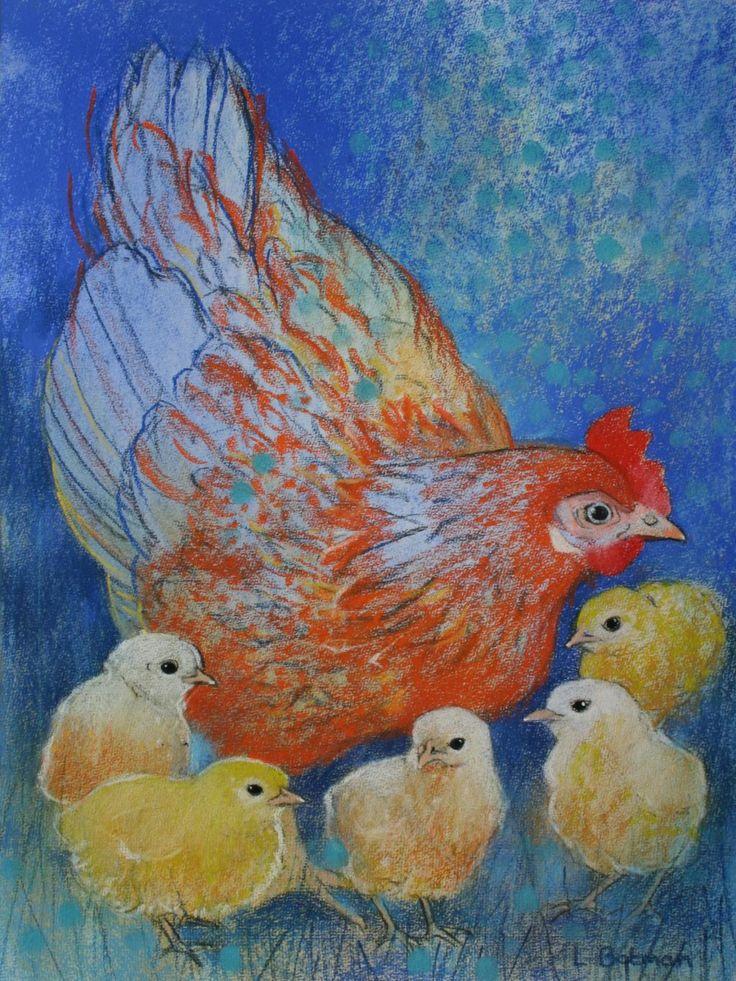 Kip met kuikens - Loes Botman pastels, pastelkrijt tekeningen