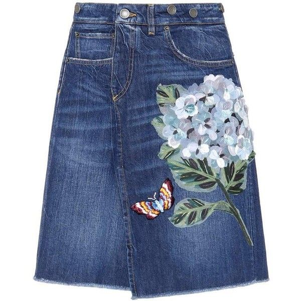 Dolce & Gabbana Embroidered Denim Skirt (£1,000) ❤ liked on Polyvore featuring skirts, bottoms, blue, knee length denim skirt, dolce gabbana skirt, denim skirt, blue skirt and embroidered skirt