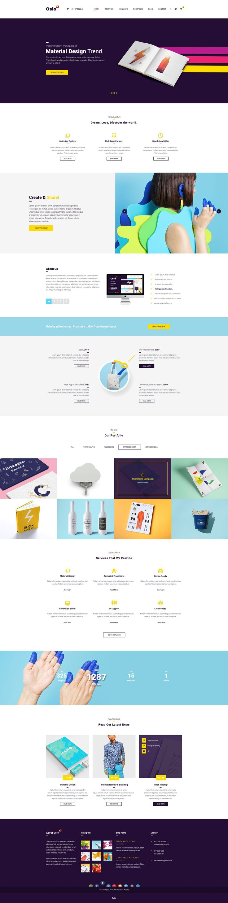 Oslo - Material Design PSD Website by milo on @creativemarket