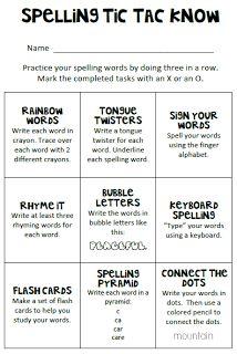 Debbie's Dabblings: Spelling Tic Tac Know Part 2 Word Study possible homework
