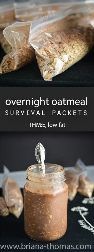 Overnight Oatmeal Survival Packets - a breakfast survival guide for the perpetual traveler - Trim Healthy Mama - THM:E - low fat - low glycemic - sugar free - gluten free - egg free - dairy free - nut free