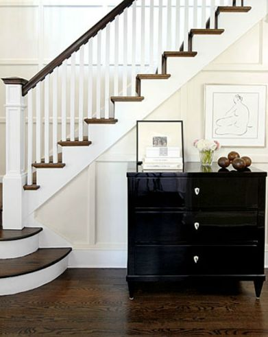 black lacquer chest in entrance foyer is fabulous!