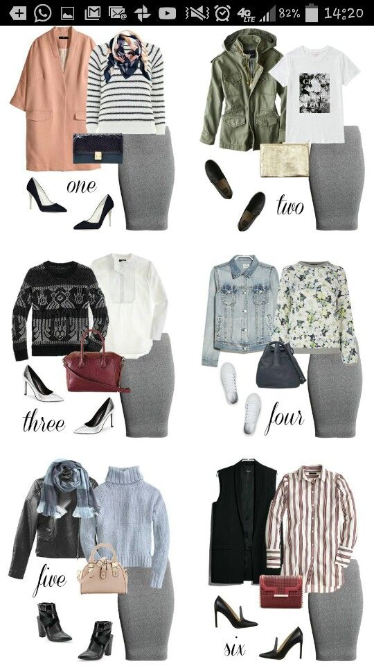 Gray Skirt Outfit- Black Silver Floral Peach Army Green Wine Light Blue Brown