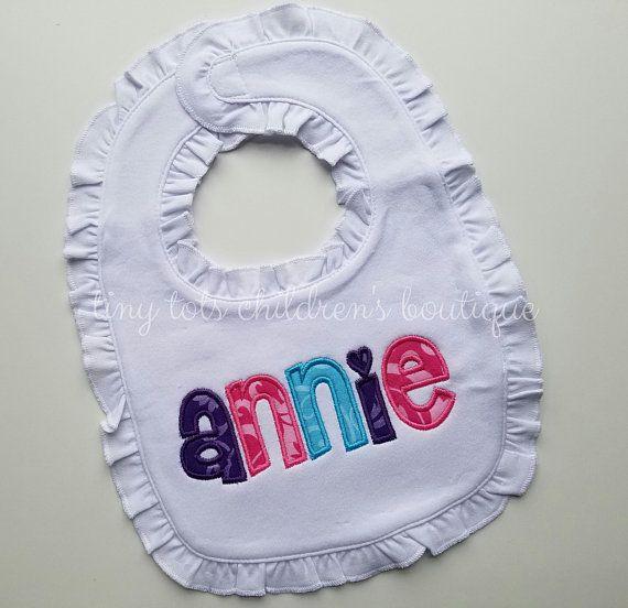 Newborn Baby Shower Gift Applique Bib Baby Girl/'s Monogram Bib Personalized Ruffle Bib Ruffle Bib