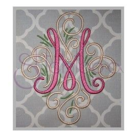 Embroidery monogram Adorn Monogram Sets – 3″- 8″  Notice the triple loop detail.  This is from the ADORN font by Laura Worthington.