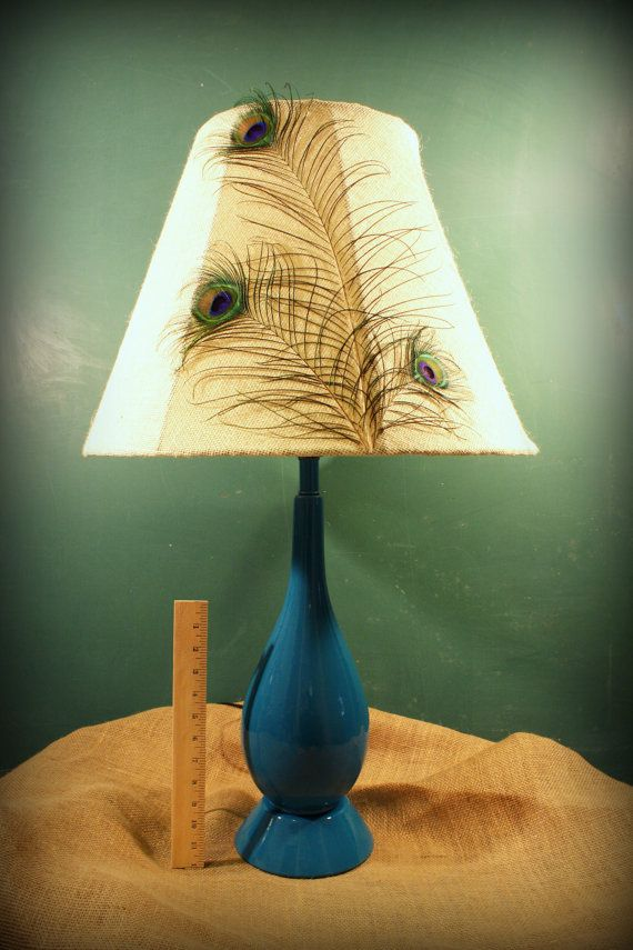 Peacock feather lamp shade with peacock blue table lamp by jjsLittleLightShine, $175.00
