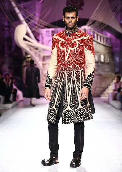 India Bridal Fashion Week 2013: JJ Valaya red ivory sherwani