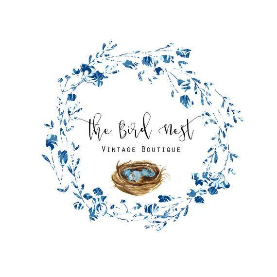 Premade Logo - Watercolor Wreath Logo - Birds Nest Logo - Boho Logo- Vintage Logo- Boutique Logo - Cottage Chic - Blue Logo- Circle Logo