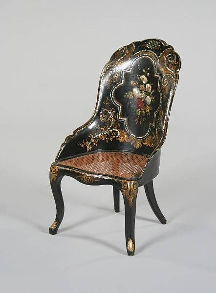 """~ """"Victorian"""" Papier Mache Chair With Painted, Gilded, & Mother Of Pearl Decoration ~"""