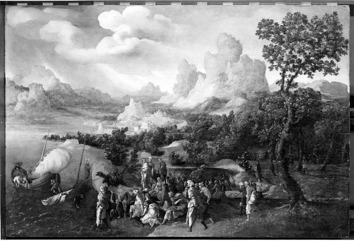 Ян ван Скорел (Jan van Scorel) (1495 - 1562) — Проповедь Христа на море Галилейском  (Museum of Fine Arts, Boston)