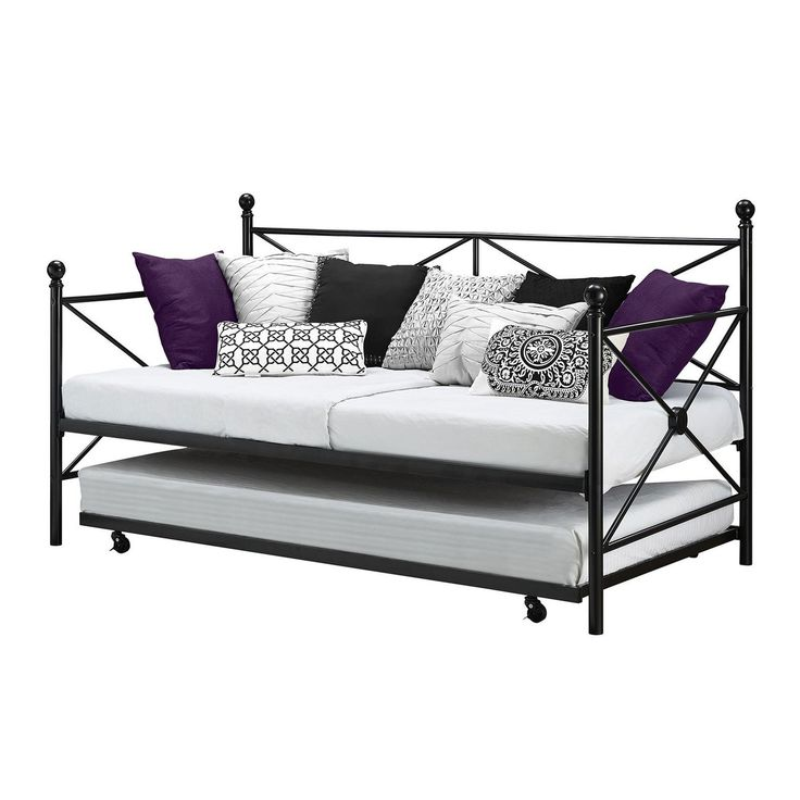Twin size Black Metal Day Bed Frame and Roll out Trundle Set - Quality House