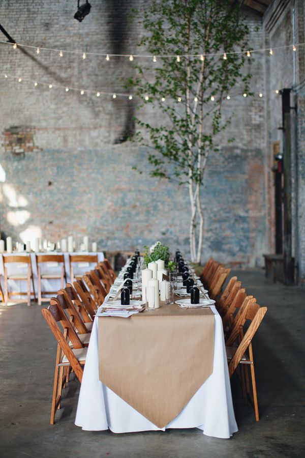 industrial reception ideas, photo by Flora and Fauna http://ruffledblog.com/basilica-hudson-wedding #weddingideas #tablescapes