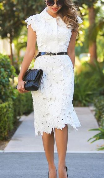 Full Flower Cut Out Midi Dress Fashion Pinterest Dresses And Lace