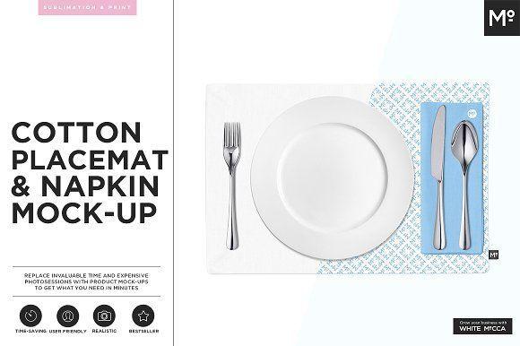 Cotton Placemat & Napkin Mock-up by Mocca2Go/mesmeriseme on @creativemarket
