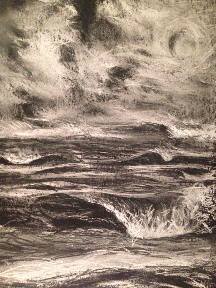 Wild ocean and sky, chalk pastel on black paper.