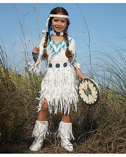 native american princess girls costume - chasing fireflies She is precious. Love the white and blue with her hair and skin color!