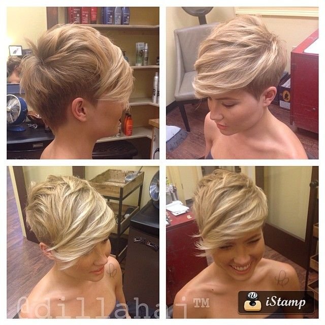 Nice views of the latest version of the Pixie - undercut sides and nape with movement, volume and length on top and through the bang.