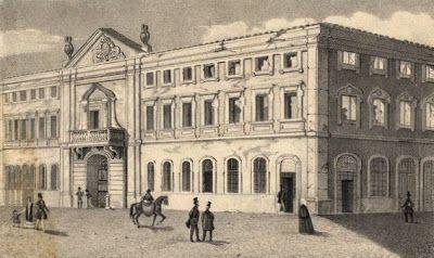 Antigo palácio da Inquisição de Lisboa (A gravura apresenta o aspecto do palácio por volta de 1842, já depois dum incêndio o ter consumido. Poucos anos depois, foi demolido para dar lugar ao Teatro Nacional D. Maria II).