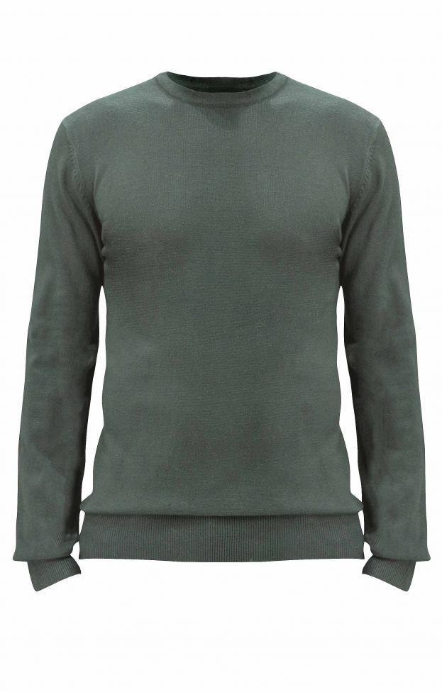 Ανδρικό πλεκτό λαιμόκοψη | Πλεκτά - Άνδρας | Metal Deluxe Fashion Πράσινο σκούρο
