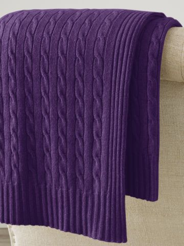 Cabled Cashmere Throw Blanket - Royal P:urple
