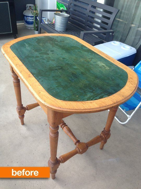 Before & After: A Leather Top Table Goes Sleek and Chic