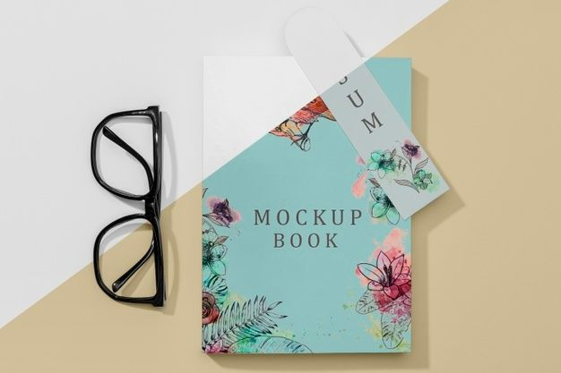 Download Flat Lay Book Mock Up With Glasses And Bookmark For Free In 2021 Mockup Mocking Free Psd