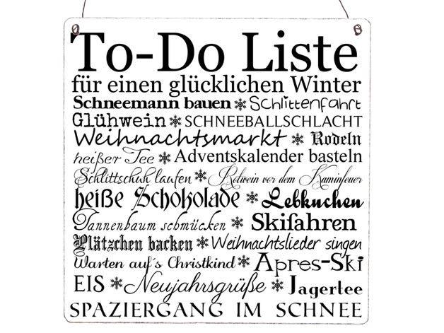 Deko und Accessoires für Weihnachten: XL TO DO LISTE WINTER Schild Shabby Vintage made by INTERLUXE via DaWanda.com