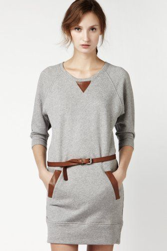 3/4 Sleeve Sweatshirt Dress With Faux Leather Trim