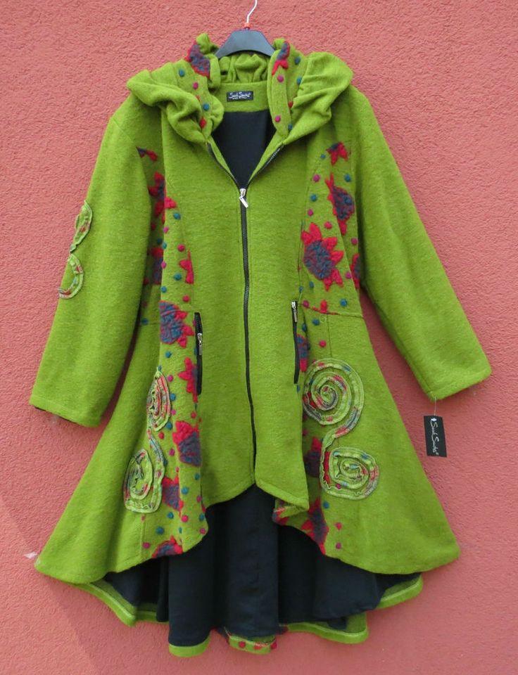 Sarah Santos TRAUMHAFT Mantel Coat Manteo Manteau XL 48 Lagenlook 90% Wolle grün                                                                                                                                                                                 Mehr