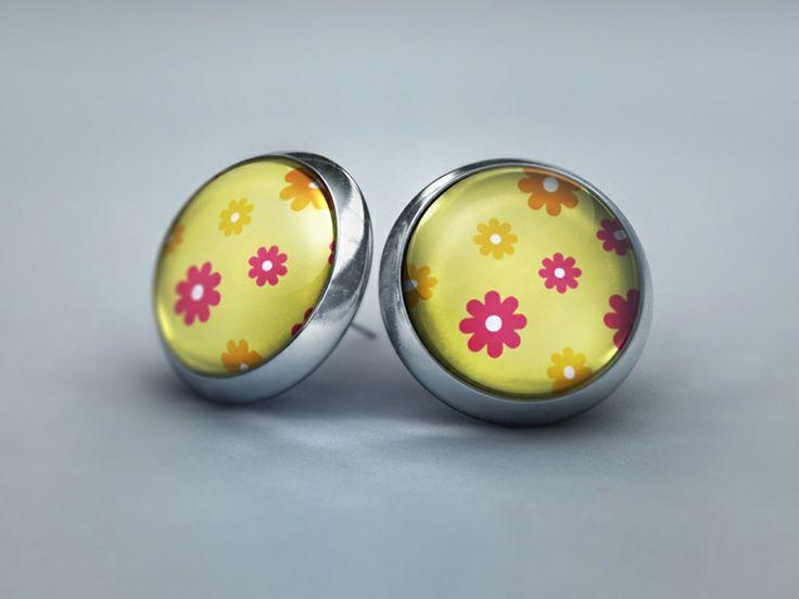 Ohrstecker - Blütenzauber in gelb und rosa von Schmuckkauz auf DaWanda.com