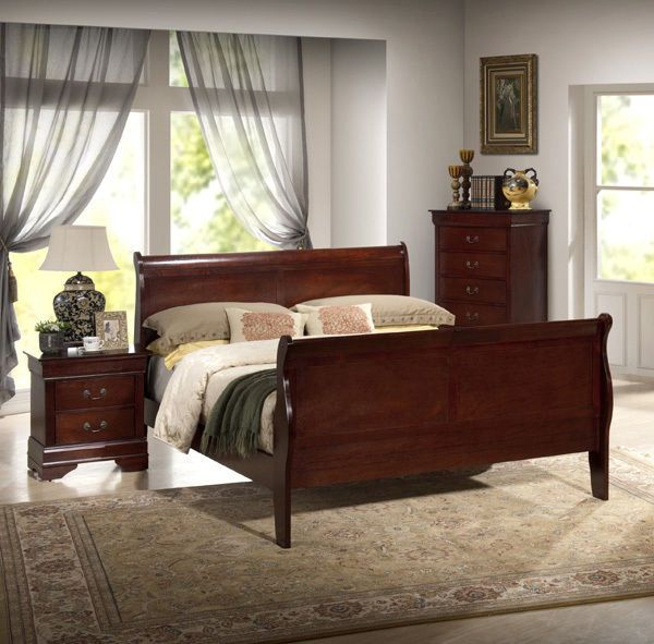 new louis philippe sleigh bed frame cherry finish - New Bed Frame