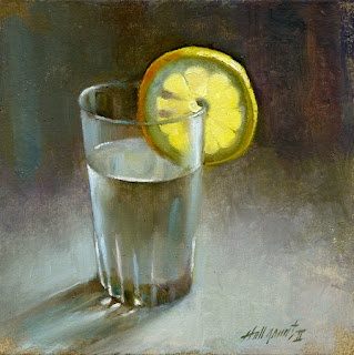 "Lemon and Water at Christie's Auction House 8x8"" Oil on canvas by Hall Groat II"