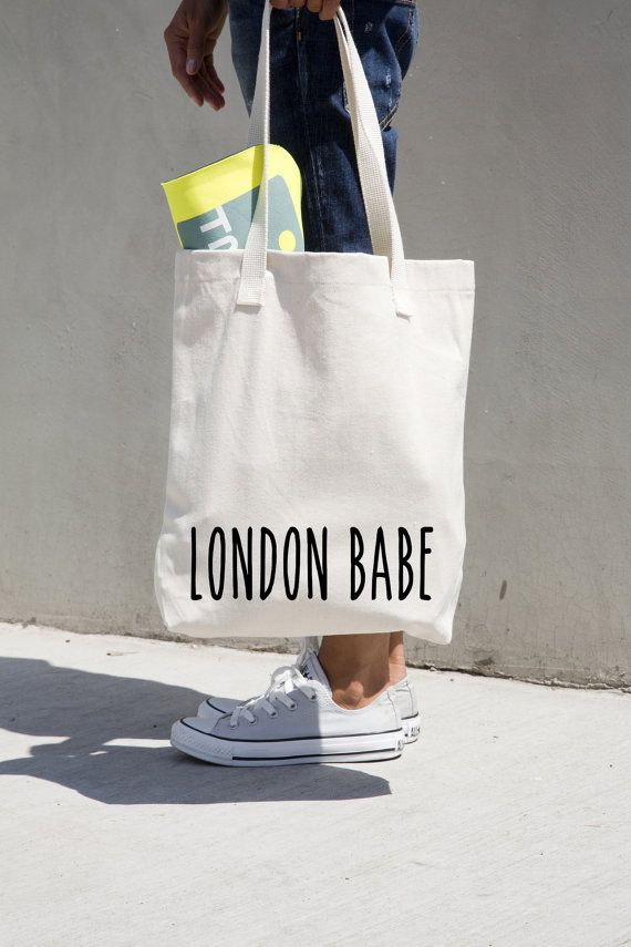 """London Babe cotton tote bag, personalized, American Apparel high quality tote,14 3/8"""" x 14""""/36.5 x 35.6 cm, natural tote, black application.#MONOFACES"""