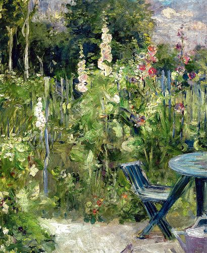 Hollyhocks, 1884. Berthe Morisot (French, 1841-1895) Was among the few women in the original French Impressionists circle. She was the sister-in-law of Edouard Manet; she married his brother Eugene.