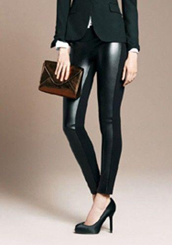 Love...Love...Love these Black Patchwork Elastic Waist Skinny Faux Leather Pants #Black #Fashion #Basics