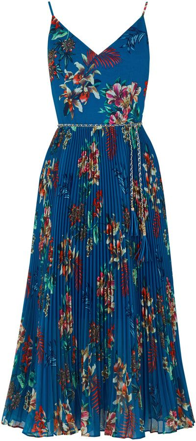 Tropical Print Pleat Midi