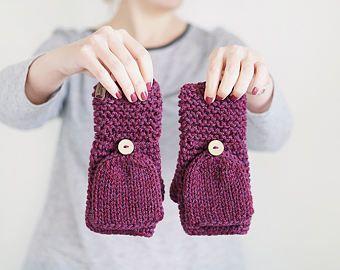 Guantes de lana gruesa de color púrpura, Crochet mitones convertibles para mujer, accesorios de invierno