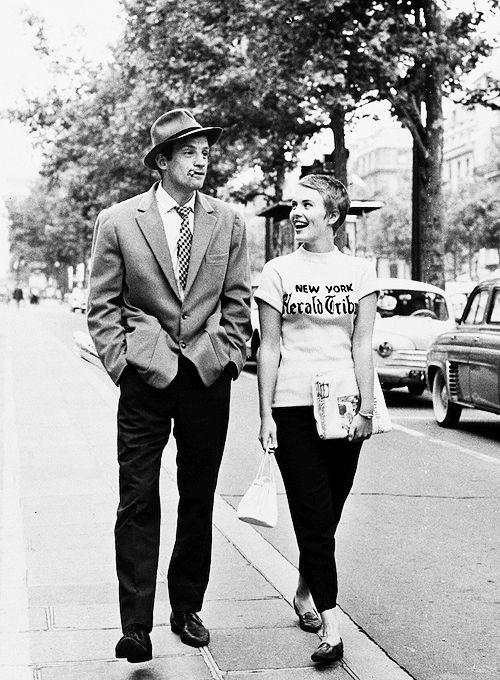 Jean-Paul Belmondo and Jean Seberg on the set of 'A Bout de Souffle', photographed by Raymond Cauchetier, Paris, 1959.
