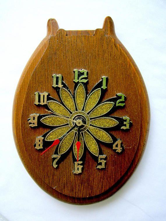 ♣Δ Bathroom Wall Clock Wood Toilet Seat Clock #Man #Cave #Vintage Home Decor... Daily http://etsy.me/2hfKKOf
