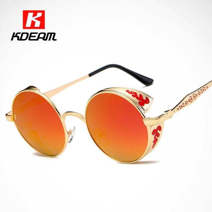 Luxury Baroque Carved Round Sunglasses Polarized Top Shield Sun Glasses Women Polaroid Goggles lentes de sol mujer With Case #Affiliate
