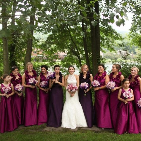 Deep pink/fushia bridesmaid gowns