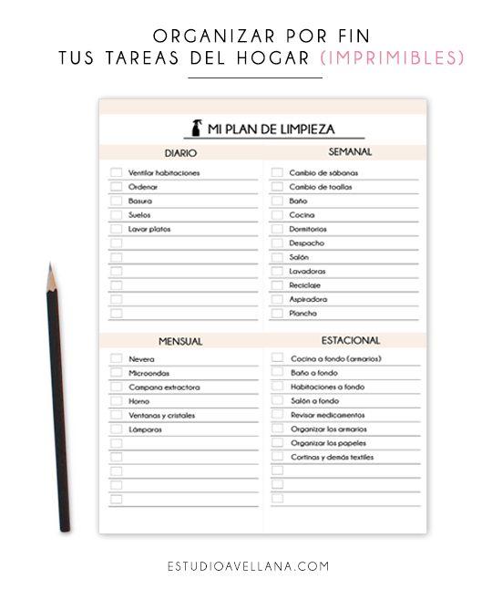 Imprimibles gratis para organizar las tareas del hogar!