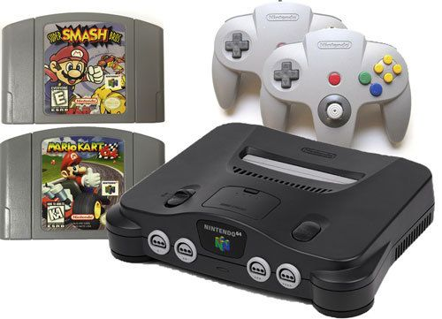 Nintendo 64 system console, Super Smash Bros, Super Mario Kart 64, 4controllers, jumper pak, cords, refurbished w/ warranty, NTSC, read/leave reviews, buy online, low prices.