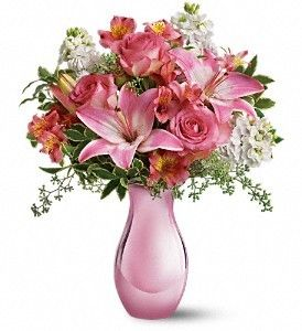 ‼ FDH Pink Reflections Bouquet with Roses   so pretty in pink, this beautiful bouquet will make any woman's day. With so many pretty flowers in such a uniquely beautiful vase, this can't-miss gift is perfect for Mother's Day, a birthday, any day!  For Other Details Visit - http://flowersdeliveryhouston.com/houston-florist/occasions/wedding-flowers/fdh-pink-reflections-bouquet-with-roses