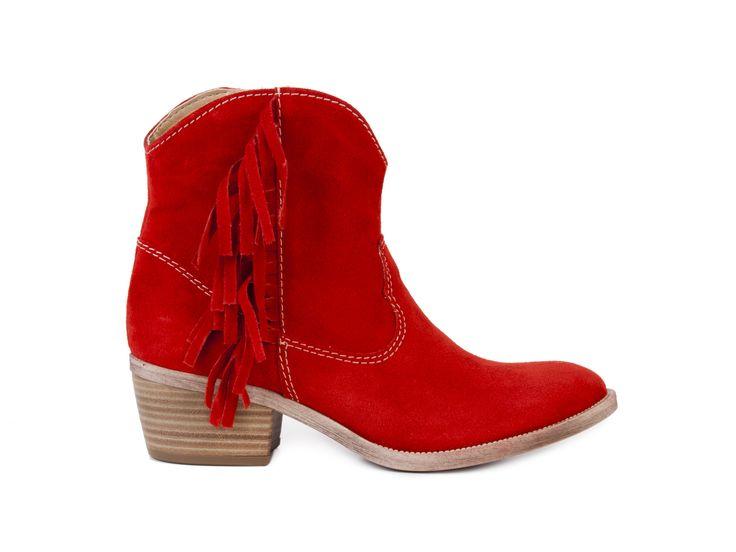 Tamaris Dámské nízké kovbojské boty s třásněmi 1-25404-30 / chilli červená