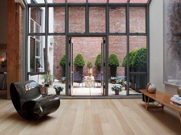 Windows, courtyard.  Inside outside space.