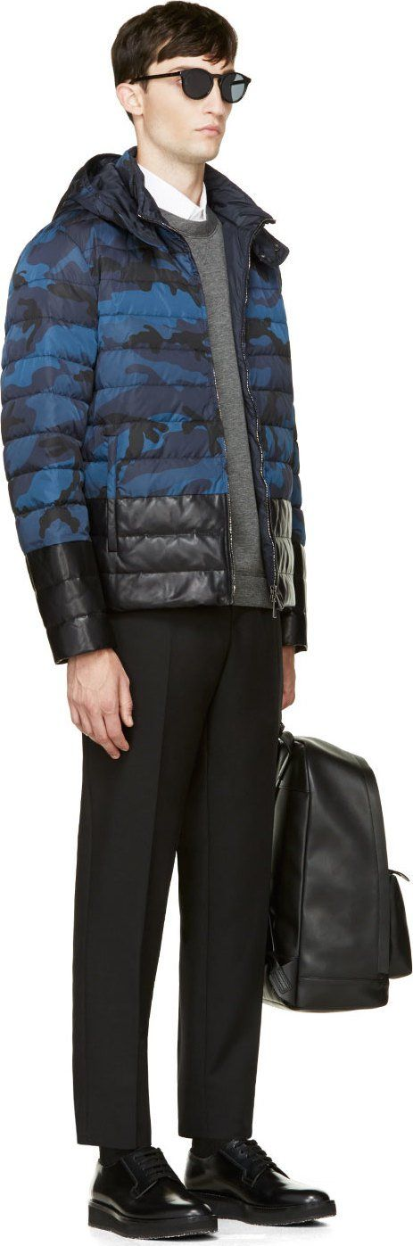Valentino Blue Leather & Camouflage Quilted Jacket