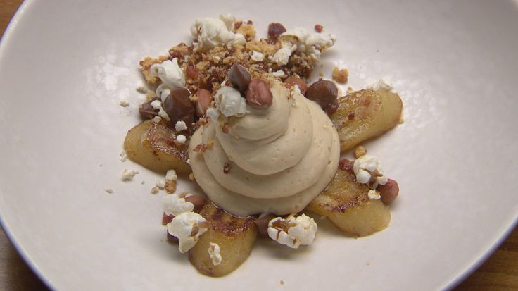 Peanut Butter Mousse with Grilled Banana and Maple Bacon Crumb