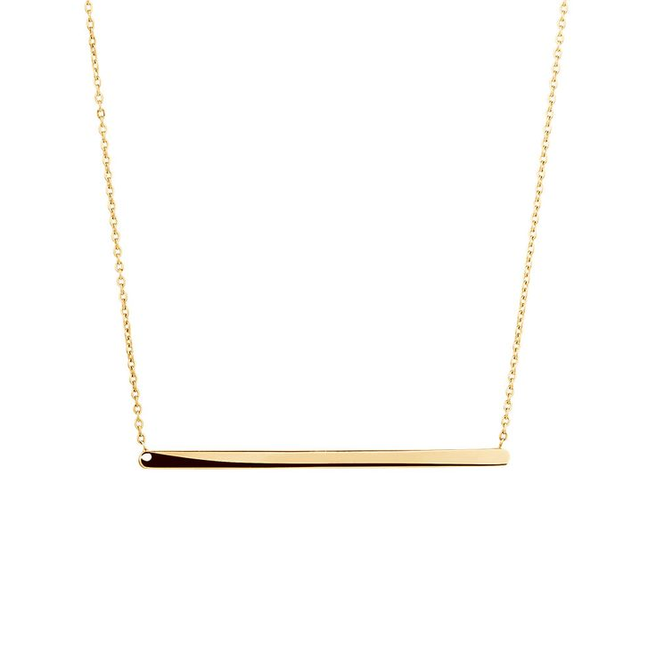 Perfect for layering, this understated 10kt yellow gold necklace features a dainty chain, and a fine polished bar. It will have you stepping out in style.