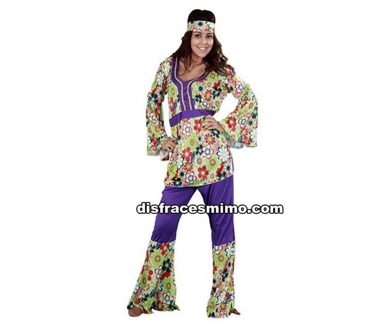 DisfracesMimo, disfraz de chica hippie flores adulto para mujer talla m/l. Vuelve a estos mágicos años con este traje de hippie tan colorido y con sus pantalones de ese color morado..Este disfraz es ideal para tus fiestas temáticas de disfraces hippies Años 60,70 y 80 para mujer adultos.